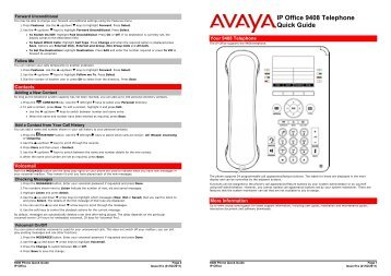 avaya 9620 quick reference guide